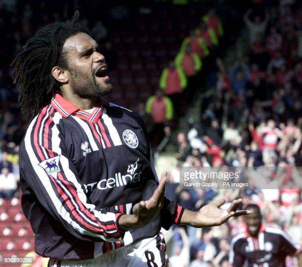 LEAGUE Middlesbrough's Christian Karembeu celebrates his goal during today's Saturday 5th May 2001 FA Carling Premiership match against Bradford City...