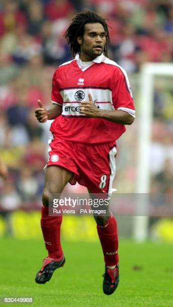 LEAGUE Middlesbrough's Christian Karembeu in action against Leeds United during their FA Premiership football match at the Riverside Stadium in...