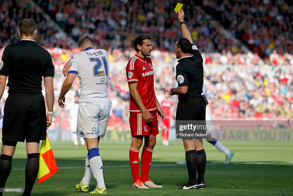 Middlesbrough's Christian Stuani is booked by referee Neil Swarbrick during the Sky Bet Championship match between Middlesbrough and Leeds United at the Riverside on September 27, 2015 in Middlesbrough, England.