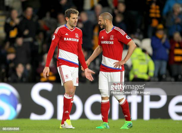 Middlesbrough's Cristhian Stuani and Adlene Guedioura react after the Premier League match at the KCOM Stadium Hull