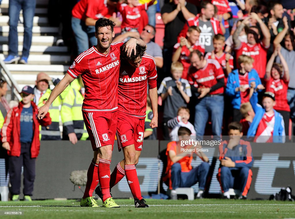 Middlesbrough's David Nugent celebrates with goalscorer of goal number three, Middlesbrough's Diego Fabbrini, during the Sky Bet Championship match between Middlesbrough and Leeds United at the Riverside on September 27, 2015 in Middlesbrough, England.