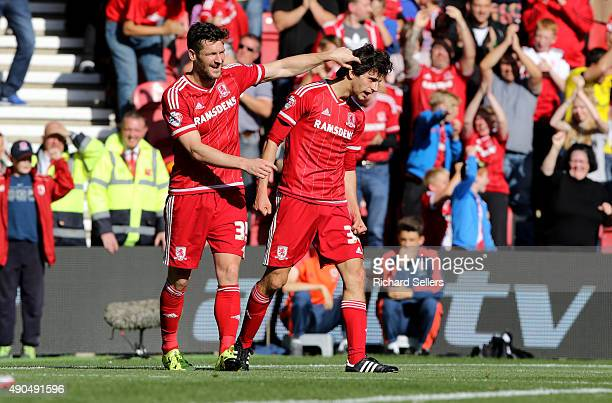 Middlesbrough's David Nugent celebrates with Middlesbrough's Diego Fabbrini during the Sky Bet Championship match between Middlesbrough and Leeds...