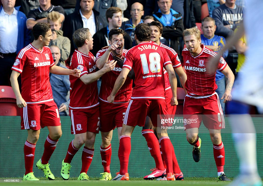 Middlesbrough's David Nugent celebrates with team-mates after scoring the opening goal during the Sky Bet Championship match between Middlesbrough and Leeds United at the Riverside on September 27, 2015 in Middlesbrough, England.
