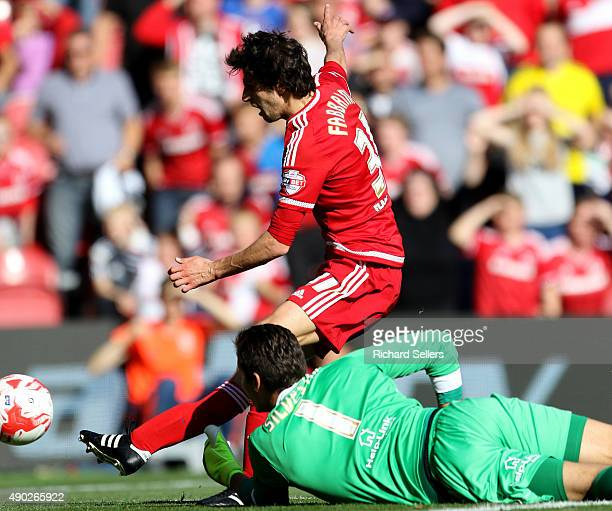Middlesbrough's Diego Fabbrini scores his team's third goal during the Sky Bet Championship match between Middlesbrough and Leeds United at the...
