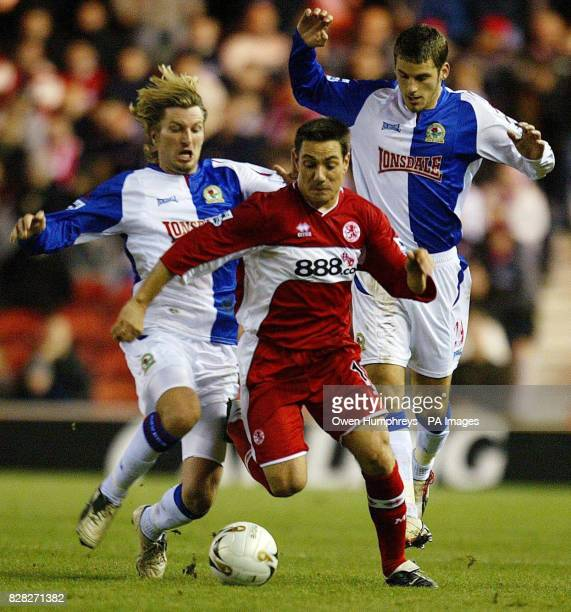 Middlesbrough's Doriva is brought down by Blackburn Rovers' Robbie Savage during the Carling Cup quarter final match at the Riverside Stadium...