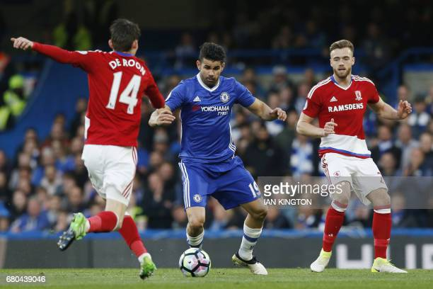 Middlesbrough's Dutch midfielder Marten de Roon vies with Chelsea's Brazilianborn Spanish striker Diego Costa during the English Premier League...