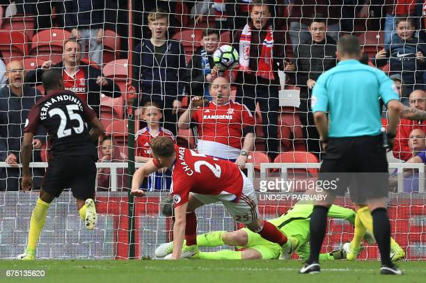 Middlesbrough's English defender Calum Chambers scores the team's second goal during the English Premier League football match between Middlesbrough...