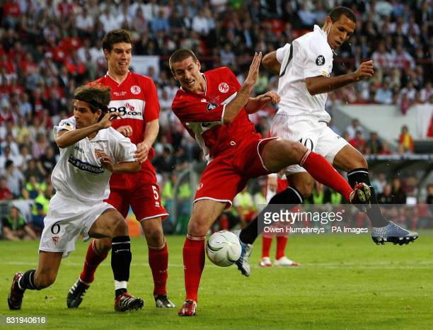 Middlesbroughs' Franck Queudrue battles for the ball with Sevilla's Clemente Luis Fabiano during the UEFA Cup Final at PSV Stadion Eindhoven...
