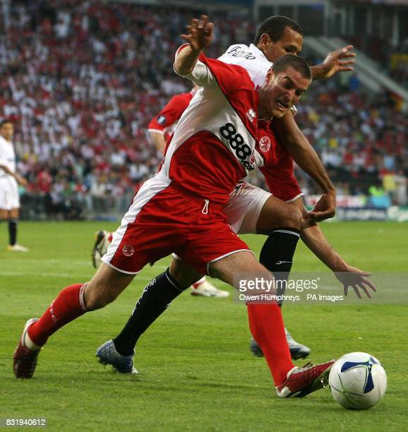 Middlesbrough's Franck Queudrue challenges Sevilla's Luis Fabiano during the UEFA Cup Final at PSV Stadion Eindhoven Netherlands