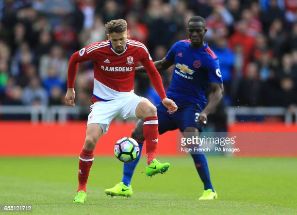 Middlesbrough's Gaston Ramirez and Manchester United's Eric Bailly battle for the ball during the Premier League match at the Riverside Stadium...