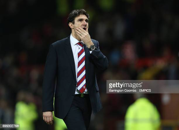 Middlesbrough's manager Aitor Karanka looks in shock at the end of the game against Manchester United
