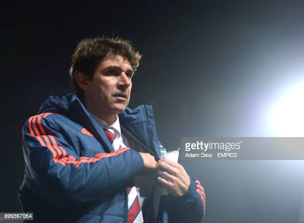 Middlesbrough's Manager Aitor Karanka walks off at half time