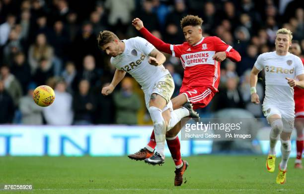 Middlesbrough's Marcus Tavernier fouls Leeds United's Gaetano Berardi during the Sky Bet Championship match at Elland Road Leeds