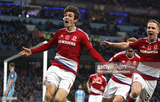 Middlesbrough's Marten de Roon celebrates scoring his sides equalising goal to make the score 11 during the Premier League match between Manchester...