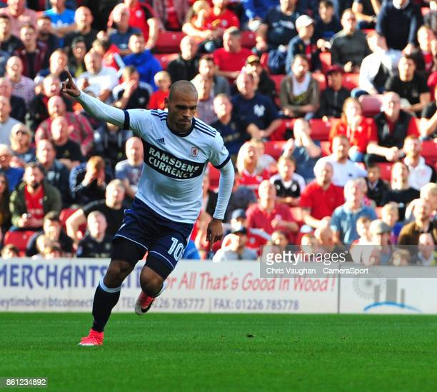 Middlesbrough's Martin Braithwaite celebrates scoring his sides equalising goal to make the score 11 during the Sky Bet Championship match between...
