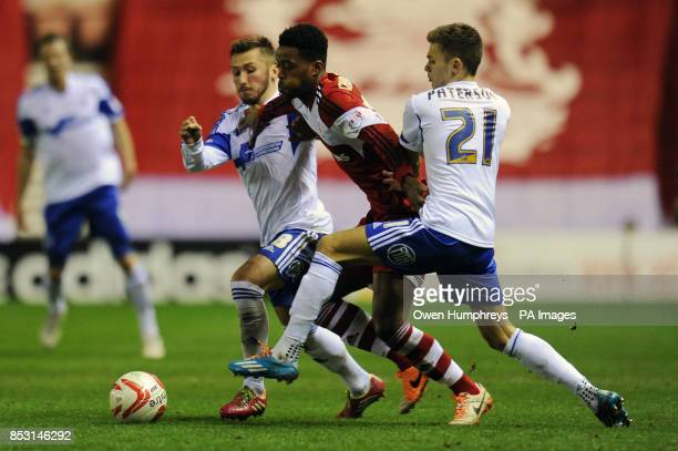 Middlesbrough's Nathaniel Chalobah and Nottingham Forest's Jamie Paterson and Radoslaw Majewski during the Sky Bet Championship match at the...