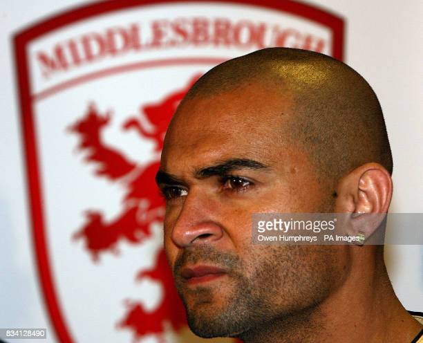Middlesbrough's new record signing Brazilian striker Afonso Alves during a press conference at the Riverside Stadium Middlesbrough