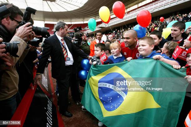 Middlesbrough's new record signing Brazilian striker Afonso Alves meets the fans during a press conference at the Riverside Stadium Middlesbrough