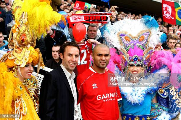 Middlesbrough's new record signing Brazilian striker Afonso Alves with manager Gareth Southgate meets the fans during a press conference at the...