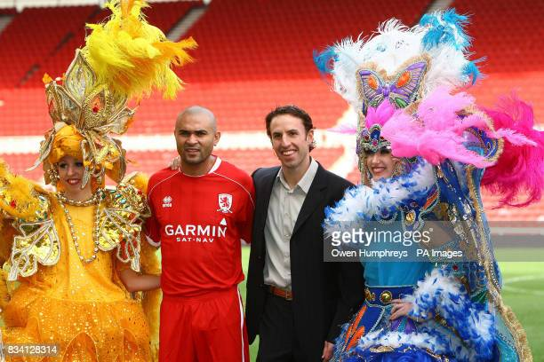 Middlesbrough's new record signing Brazilian striker Afonso Alves with manager Gareth Southgate during a press conference at the Riverside Stadium...