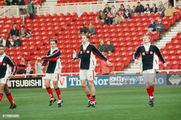 Middlesbrough's official opening of their new Riverside Stadium in a friendly against Italian side Sampdoria Middlesbrough players warming up before...