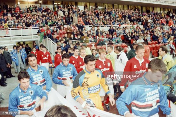 Middlesbrough's official opening of their new Riverside Stadium in a friendly against Italian side Sampdoria Middlesbrough and Sampdoria coming out...