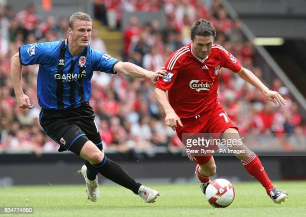 Middlesbrough's Robert Huth and Liverpool's Robbie Keane in action
