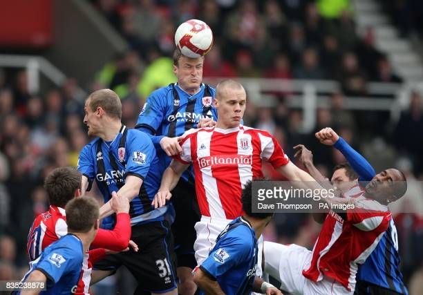 Middlesbrough's Robert Huth and Stoke City's Ryan Shawcross battle for the ball in the air