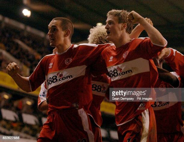 Middlesbrough's Robert Huth celebrates his equalising goal with team mates