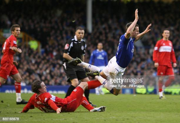 Middlesbrough's Robert Huth challenges Everton's Phil Jagielka