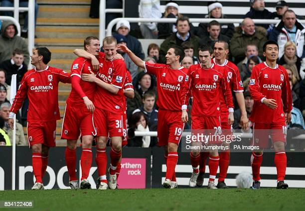 Middlesbrough's Robert Huth is congratulated by his team mates after equalising
