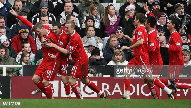 Middlesbrough's Robert Huth is congratulated by his team mates after equalising during the Barclays Premier League match at St James' Park Newcastle