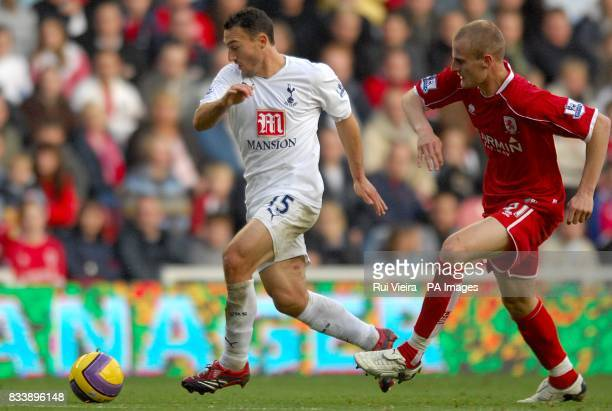 Middlesbrough's Ross Turnbull persue's Tottenham Hotspur's Steed Malbranque as they battle for the ball