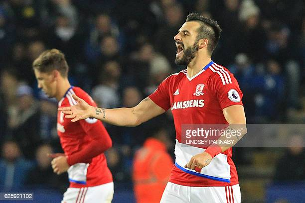 Middlesbrough's Spanish striker Alvaro Negredo celebrates after scoring his second goal during the English Premier League football match between...