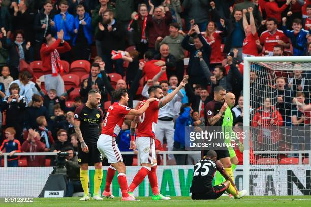 Middlesbrough's Spanish striker Alvaro Negredo celebrates scoring the opening goal during the English Premier League football match between...