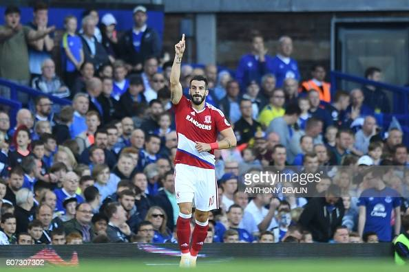 Middlesbrough's Spanish striker Alvaro Negredo celebrates their first goal during the English Premier League football match between Everton and...