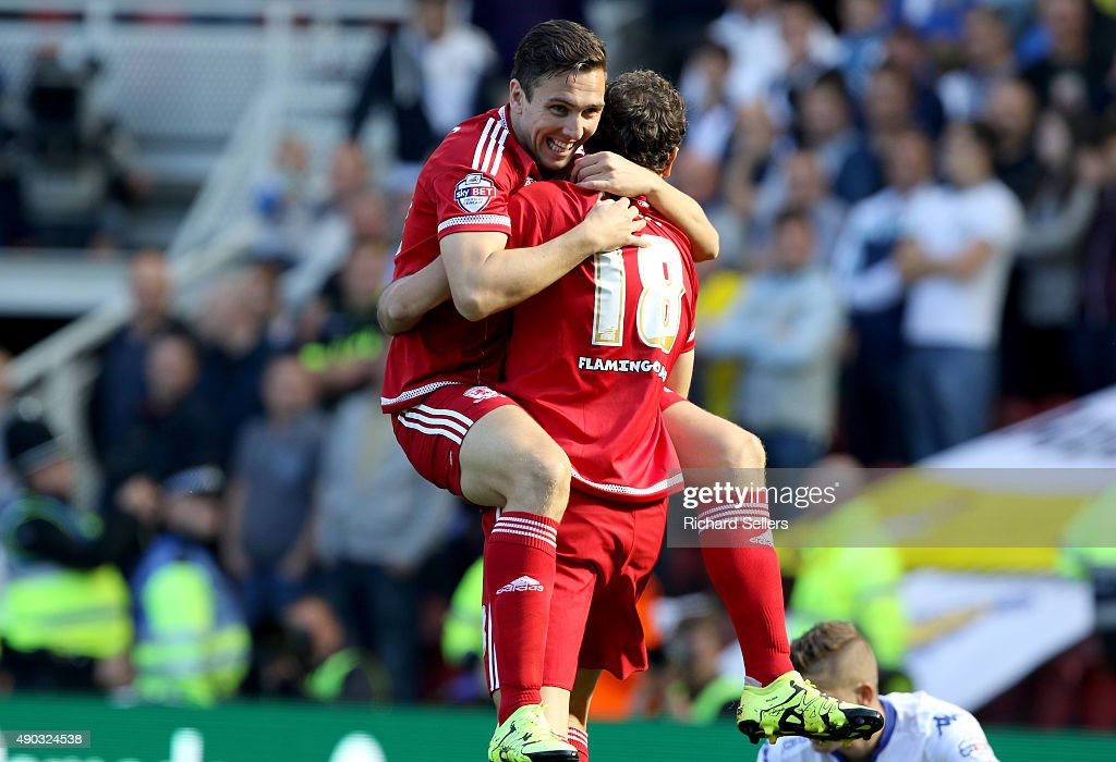 Middlesbrough's Stewart Downing celebrates with Middlesbrough's Christian Stuani after the opening goal during the Sky Bet Championship match between Middlesbrough and Leeds United at the Riverside on September 27, 2015 in Middlesbrough, England.