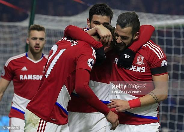Middlesbrough's Uruguayan midfielder Gaston Ramírez celebrates scoring his team's first goal during the English Premier League football match between...
