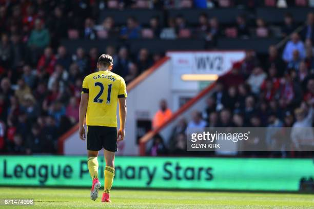 Middlesbrough's Uruguayan midfielder Gaston Ramírez leaves the pitch after receiving a red card during the English Premier League football match...