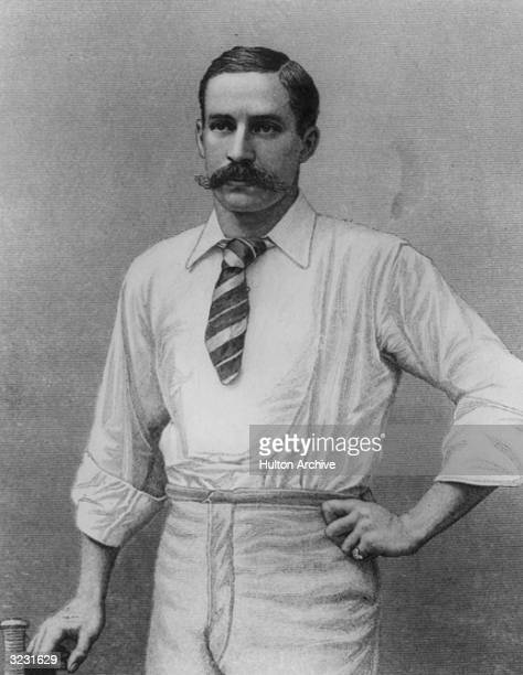 Middlesex and England cricketer Andrew Stoddart who was the Wisden Cricketer of the Year 1893 Original Artwork Engraved by W Rolfe after photograph...