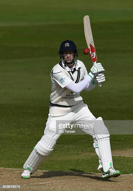 Middlesex batsman Adam Voges hits out during day one of the Specsavers County Championship Division One match between Durham and Middlesex at...