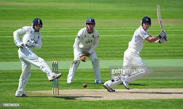 Middlesex batsman Joe Denly picks up some runs watched by Warwickshire wicketkeeper Tim Ambrose during day one of the LV County Championship Division...