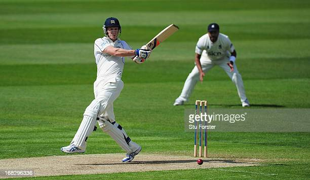 Middlesex batsman Joe Denly pulls a ball towards the boundary during day one of the LV County Championship Division One game between Warwickshire and...