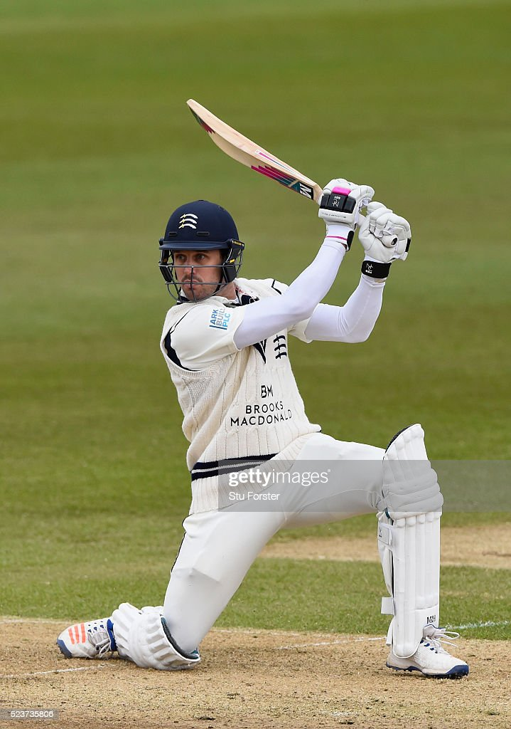 Middlesex batsman <a gi-track='captionPersonalityLinkClicked' href=/galleries/search?phrase=Nick+Compton&family=editorial&specificpeople=654760 ng-click='$event.stopPropagation()'>Nick Compton</a> picks up runs during day one of the Specsavers County Championship Division One match between Durham and Middlesex at Emirates Durham ICG on April 24, 2016 in Chester-le-Street, England.