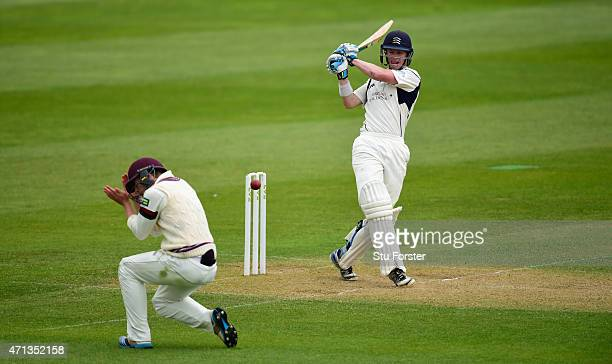 Middlesex batsman Nick Gubbins pulls a short ball which hits short leg fielder Tom Abell during day two of the Division One LV County Championship...