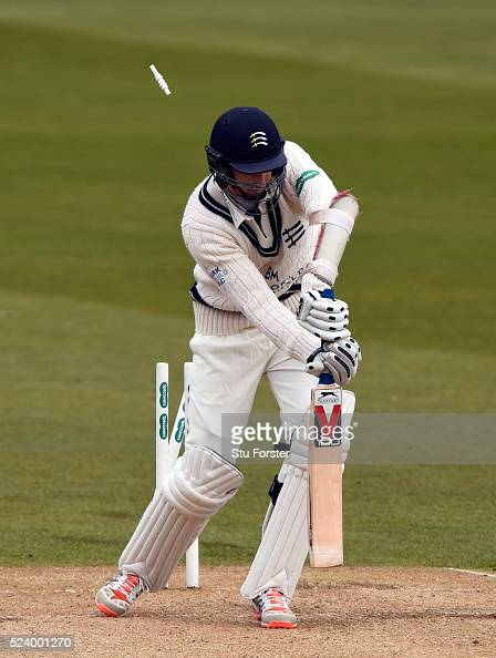 Middlesex batsman Steven Finn is bowled by Ben Stokes during day two of the Specsavers County Championship Division One match between Durham and...