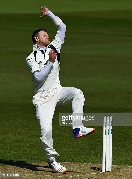 Middlesex bowler James Harris in action during day two of the Specsavers County Championship Division One match between Durham and Middlesex at...