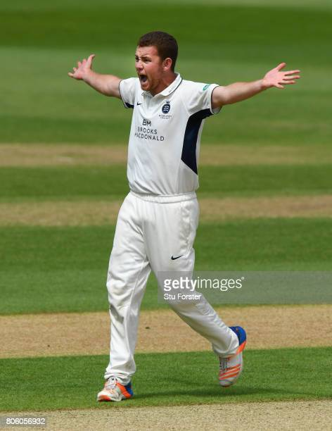 Middlesex bowler Ryan Higgins appeals for the wicket of sam Hain during the Specsavers County Championship Division One match between Warwickshire...