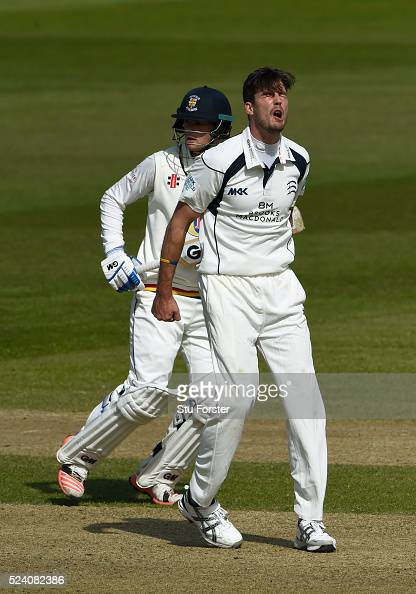 Middlesex bowler Steven Finn reacts in frustration during day two of the Specsavers County Championship Division One match between Durham and...