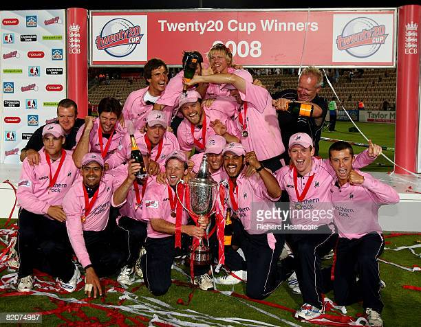 Middlesex celebrate victory with the trophy after winning the Twenty20 Cup Final between Kent and Middlesex at The Rosebowl on July 26 2008 in...